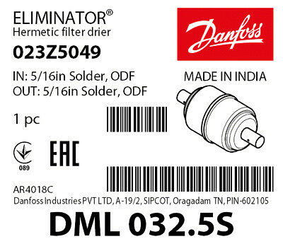 Danfoss Eliminator Liquid Line Filter Drier DML303 023Z0049