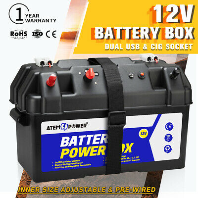 130AH Battery Box AGM Deep Cycle Battery Caravan 4WD Heavy Duty Dual USB 12 Volt
