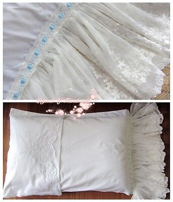 Victorian~Battenburg Lace Long Ruffles Pillow Sham/Cover~White~Cotton~Wedding~