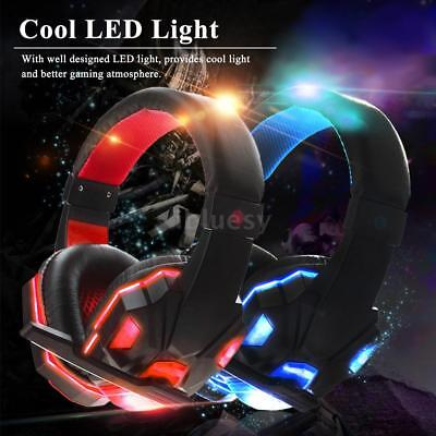 USB 3.5mm LED Surround Stereo PC XBOX Gaming Headset Cuffie Auricolare MIC V2D4