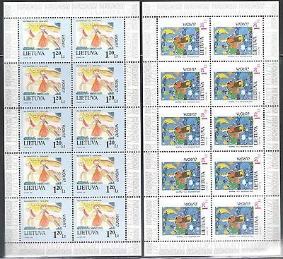 1997 EUROPA CEPT Lithuania/Lietuva 2 Mini-sheets of 10 values MNH