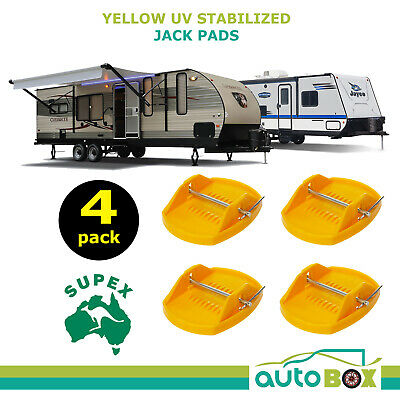Supex Yellow Caravan UV Stabilized Corner Jack Pads - 4 Pack Trailer RV