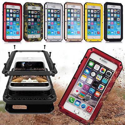 Shockproof Rugged Aluminum Gorilla Glass Metal Full Case Cover For Apple iPhone