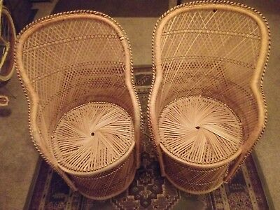 Attirant Vintage Rattan Chair Boho Chic Peacock Chair Fan Regency Armchair Wicker  Accent