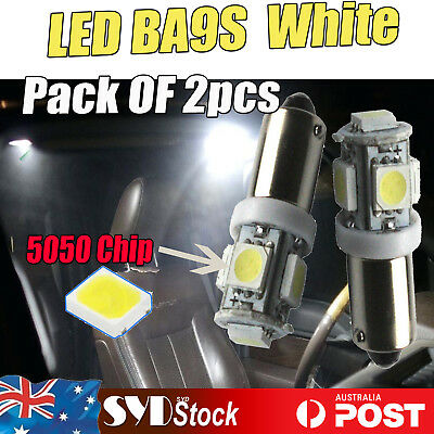 Pack Of 2pcs BA9S T4W T11 1895 Bayonet 5 LED 5050 Dome Map Light Bulb 12V White