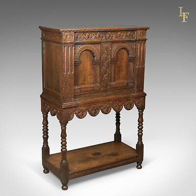 Victorian Antique Livery Cupboard in the 17th Century Taste, English, Oak c.1880