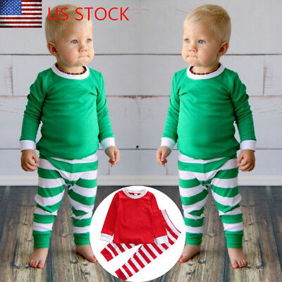 Cute Toddler Baby Kids Boy Girls Striped Tops Pants Xmas Sleepwear Pajamas Set