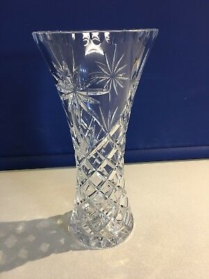Cut Glass Crystal Vase 255cm Tall Very Good Condition 1150