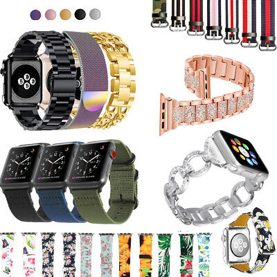 Stainless Steel Silicone Woven Nylon Band Strap for Apple Watch Series 1 2 3