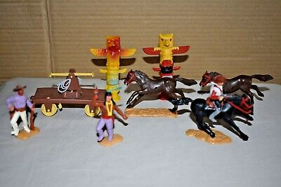 Lot Of 1960s - 70s Plastic Cowboys & Indians Horses Etc Timpo Toys