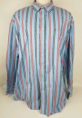 e41f21df Tommy Hilfiger 80's 2 Ply Fabric XXL Long Sleeve Button Down Striped Blue  Red