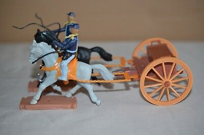 1960s - 70s Plasty Toys Germany US Cavalry Soldiers Horses & Wagon