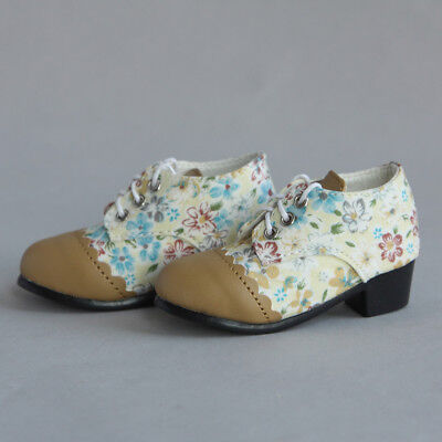 [wamami] 48# For 1/4 MSD AOD BJD Dollfie PU Leather Shoes Brown Flower Shoes