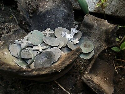 Little hoard byzantine  scyphate coins and cross