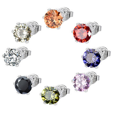 Classic Women Men White Gold Plated AAA+ Round Cubic Zirconia CZ Stud Earrings