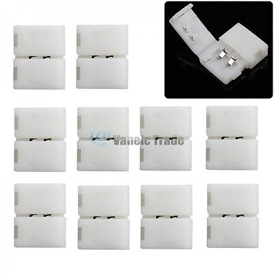 10 Pcs 8mm 2 PIN Solderless Clip-on Connector Apply to 3528 3014 2835 LED Strip