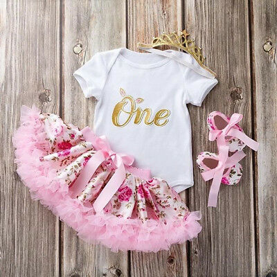 UK Canis Newborn Baby Girls 1st Birthday Floral Romper Tutu Skirt Dress Outfits