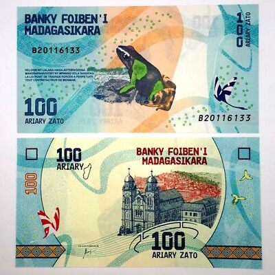 Madagascar 100 Ariary 2017 NEW Design UNC Paper Money Africa Banknote Real New