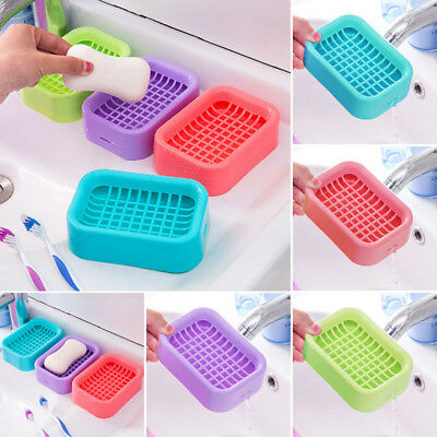 Water New Bathroom Holder Box Saver Soap Double Case Stand Rack Dish Draining
