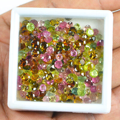 14 Ct+ Natural Tourmaline Multi Color Round Cut Faceted Gemstones Lot ~ 3-5 MM