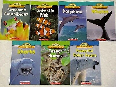 7 New Science Vocabulary Reader Books Whales Fish Polar Bears Dolphins Sharks