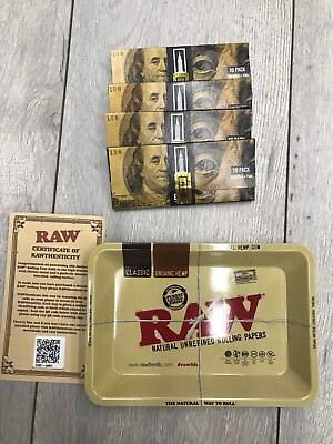 Empire Rolling Papers 4 X (10 Sheet packs+Filter Tips) 1 Raw Tray Mini