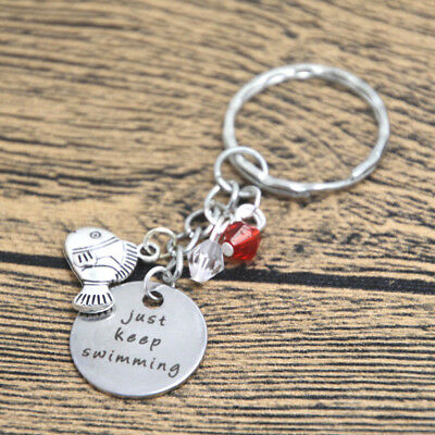 Finding Nemo Keyring Dory Inspired Just Keep Swimming Silver tone crystals