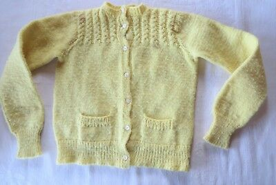 Vintage Hand Knit Baby Child Sweater Cardigan Yellow Pockets Cables