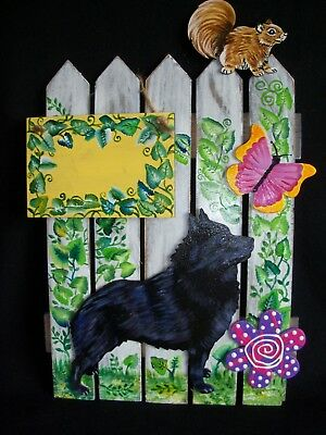 HP Schipperke SIGN GATE fence painting hand painted dog art decor personalize