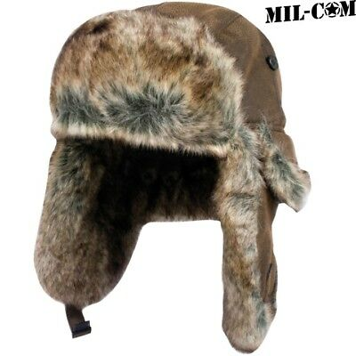Mil-Com Aviators Hat Mens S-Xl Pu Leather Acrylic Fur Winter Trapper Headwear