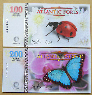 Atlantic Forest  2 X Different Insects / Specimen Fantasy Notes  2016