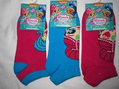 Bnwt- 3 Shimmer& Shine Trainer Socks Blue&Pink - 9-12, 12.5-2,6-8.5 Free Post Uk