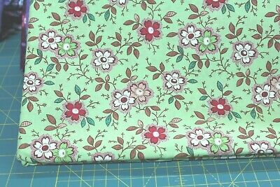 100 /% Cotton fabric ~ Happy ~ Lime green//mauve,green,dark mauve,cr flowers ~ BTY