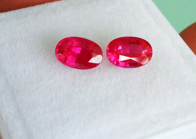 TOP COLOR!  6x4mm. (PAIR) OVAL BLOOD RED RUBY CORUNDUM GEMs 2pcs.for Earrings