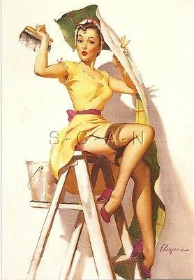 1950s Type Semi Nude Large(4.25 x 6.25) Pinup PC- Gil Elvgren- Wallpaper- Ladder