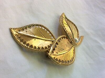 Vtg Western Germany Gold Tone pearl leaves jewelry 3D brooch Bridal Hair Pin