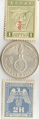 *WW2 -  . silver - 1937 - *germann   EAGLE  coin + wwi - *greek stamp