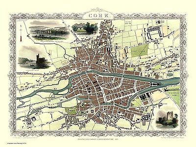 "John Tallis Map of Cork - Ireland - 1851 - 30"" x 20"" Photo Print"