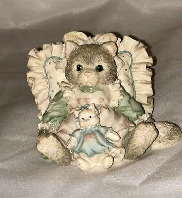 """Calico Kittens Enesco 1992 """"Friends are Cuddles of Love"""" Resin Cat Figurine #630"""