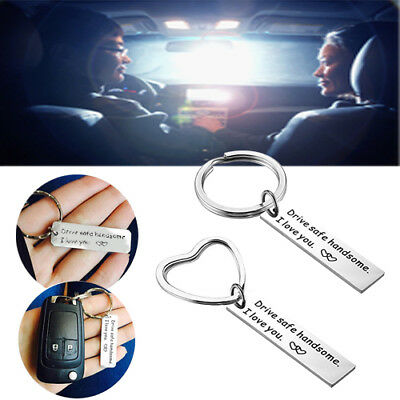 """Safe driving handsome, I love you"" keychain + necklace fashion"