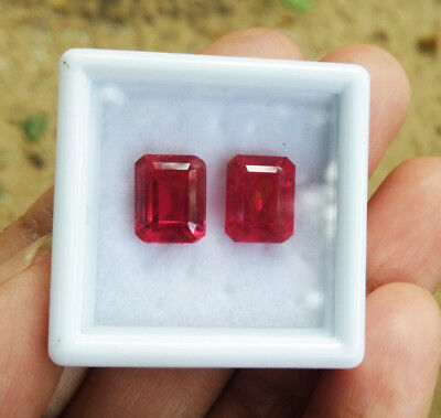 TOP COLOR! 9x7mm. PAIR of Octagon CORUNDUM BLOOD RED RUBY GEMs EXCELLENT CUT!
