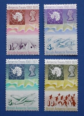 BAT (39-42) 1971 Antarctic Treaty 10th Anniversary singles set (MNH)