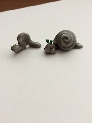 Lot Of 2 Vintage  Pewter Snails Mini Figurines, 1  WW Made In England, 1 Unknown