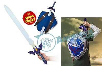 "Legend of Zelda HYLIAN SHIELD BACKPACK & MASTER SWORD 35"" Bag LINK COSPLAY LOT 2"
