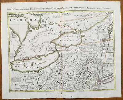 Zatta Large Original Map Great Lakes Erie Ontario Toronto - 1779