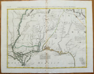 Zatta Large Original Map Louisianna Mississippi New Orleans - 1779