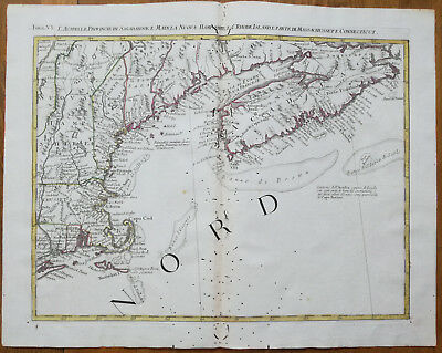 Zatta Large Original Map Nova Scotia Maine Boston Nantucket - 1779