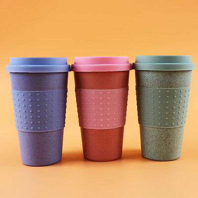 Eco-friendly Resuable Wheat Straw Coffee Cup Mug Tumbler with Lid Kitchen Tool G
