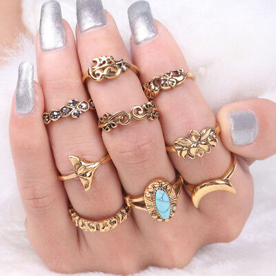 9Pcs/set Vintage Turquoise Lotus Alloy Ring Joint Ring Suit Jewelry Gift G