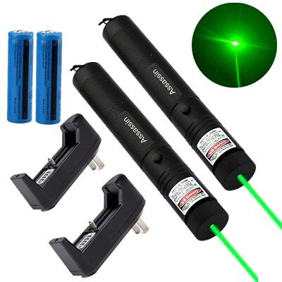 2PCS Green Laser Pen 50Mile Assassin Amazing 532nm Visible Beam+Battery+Charger